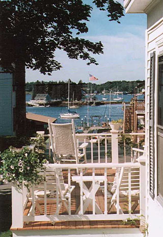View of Boothbay Harbor from the porch of the Inn
